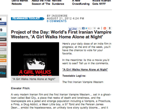 A GIRL WALKS HOME ALONE AT NIGHT feature film   Indiegogo